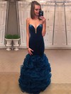 Trumpet/Mermaid V-neck Floor-length Organza Velvet Prom Dresses with Cascading Ruffle #Favs020105494