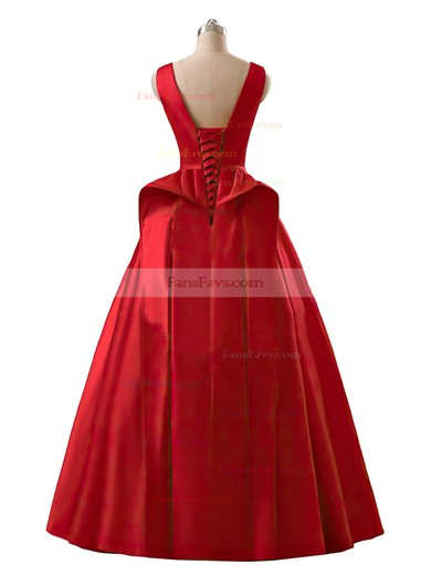 Princess Scoop Neck Satin Floor-length Sashes / Ribbons Prom Dresses #Favs020102746