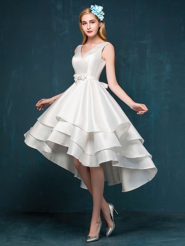 Princess V-neck Satin Asymmetrical Sashes / Ribbons Prom Dresses #Favs020103153