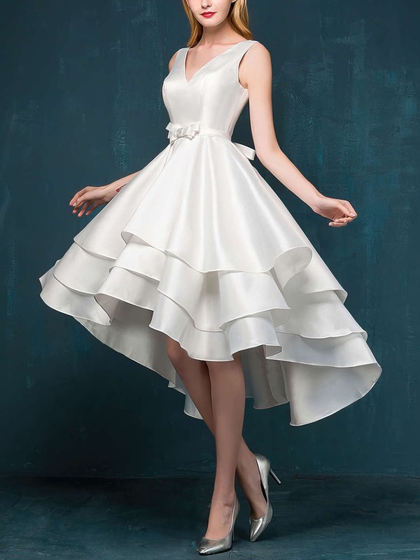 Princess V-neck Asymmetrical Satin Prom Dresses with Sashes #Favs020103153