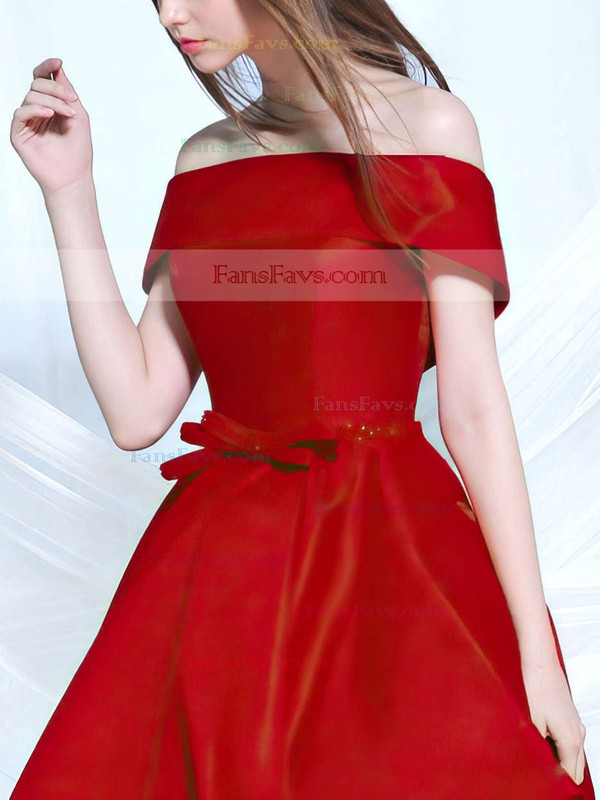 A-line Off-the-shoulder Satin Asymmetrical Sashes / Ribbons Prom Dresses #Favs020103189