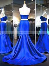 Trumpet/Mermaid Sweetheart Sweep Train Satin Prom Dresses with Ruffle #Favs020103271