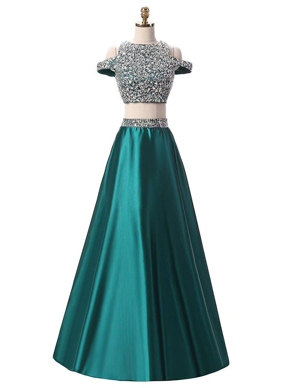 A-line Scoop Neck Satin Floor-length Crystal Detailing Prom Dresses #Favs020103343