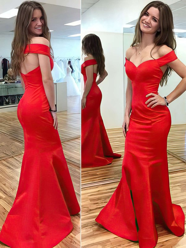 Trumpet/Mermaid Off-the-shoulder Sweep Train Satin Prom Dresses with Ruffle #Favs020104425