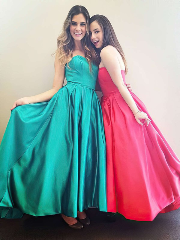 A-line Strapless Ankle-length Satin Prom Dresses with Ruffle #Favs020104436