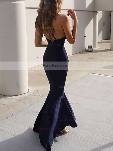 Trumpet/Mermaid V-neck Silk-like Satin Sweep Train Ruffles Prom Dresses #Favs020104812