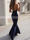 Trumpet/Mermaid V-neck Sweep Train Satin Prom Dresses with Ruffle #Favs020104812