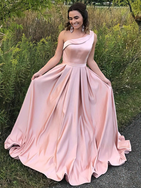 A-line One Shoulder Sweep Train Satin Prom Dresses with Sashes #Favs020104815