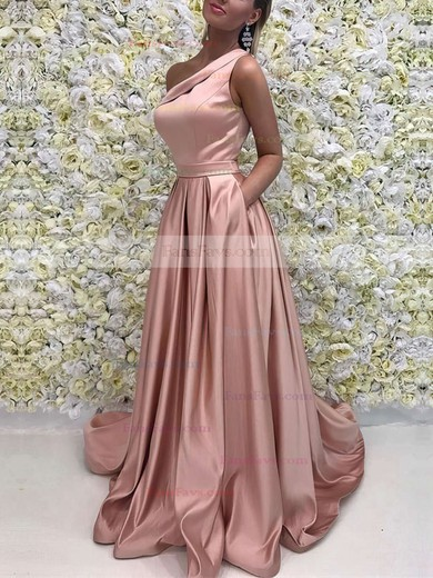 A-line One Shoulder Satin Sweep Train Sashes / Ribbons Prom Dresses #Favs020104815