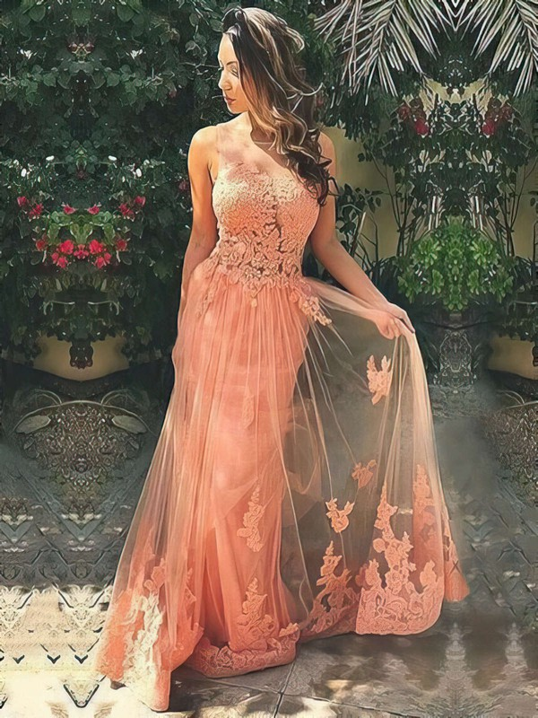 A-line Scoop Neck Tulle Sweep Train Appliques Lace Prom Dresses #Favs020103510