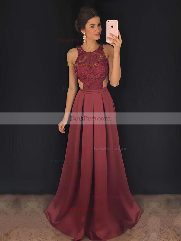 A-line Scoop Neck Satin Sweep Train Appliques Lace Prom Dresses #Favs020104848