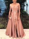 Princess Off-the-shoulder Floor-length Satin Prom Dresses with Sashes Split Front #Favs020104926