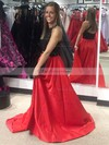 A-line Halter Satin Sweep Train Appliques Lace Prom Dresses #Favs020104957