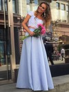 A-line Square Neckline Satin Floor-length Appliques Lace Prom Dresses #Favs020104978