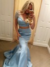 Trumpet/Mermaid V-neck Satin Sweep Train Beading Prom Dresses #Favs020104988