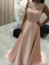 A-line Scoop Neck Sweep Train Satin Prom Dresses with Appliques Lace Sashes #Favs020105227