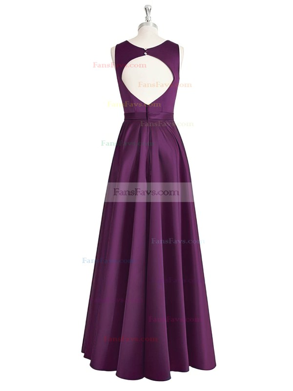 A-line Scoop Neck Satin Floor-length Sashes / Ribbons Prom Dresses #Favs020105325