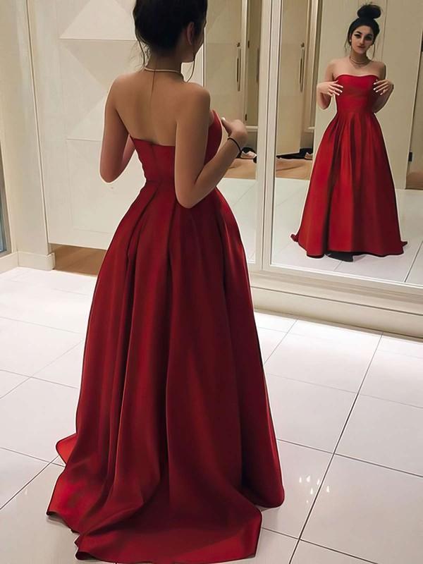 Princess Sweetheart Sweep Train Satin Prom Dresses #Favs020105348