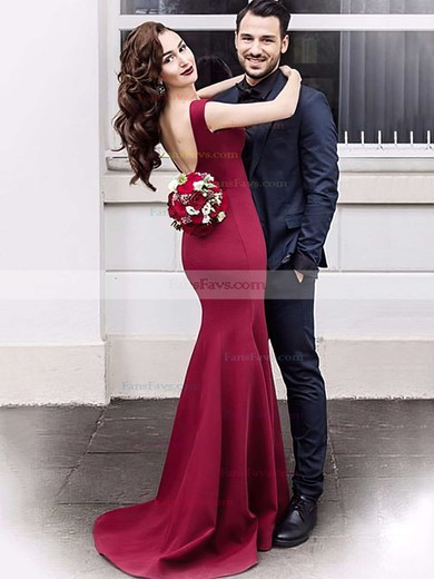 Trumpet/Mermaid V-neck Satin Sweep Train Prom Dresses #Favs020105462