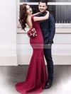 Trumpet/Mermaid V-neck Satin Sweep Train Prom Dresses #Favs020105462