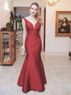 Trumpet/Mermaid V-neck Floor-length Satin Prom Dresses #Favs020105489