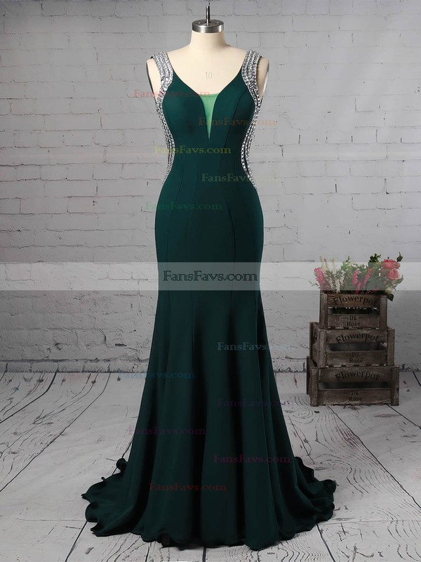 Trumpet/Mermaid V-neck Stretch Crepe Sweep Train Beading Prom Dresses #Favs020105546