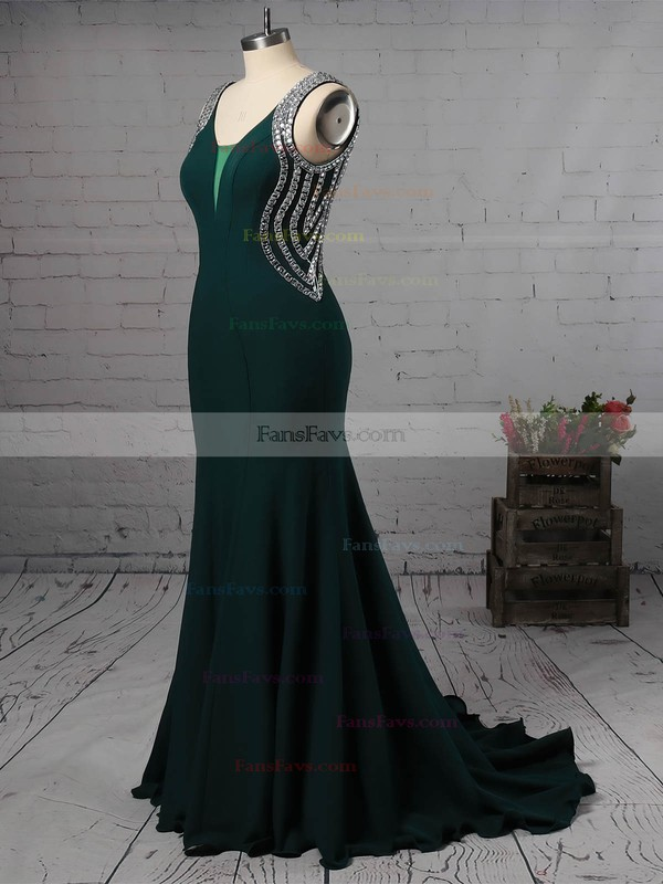 Trumpet/Mermaid V-neck Sweep Train Satin Prom Dresses with Beading #Favs020105546