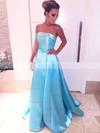 Princess Strapless Sweep Train Satin Prom Dresses with Sashes #Favs020105559