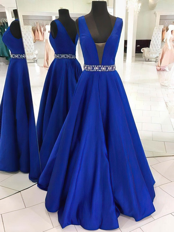 Princess V-neck Satin Floor-length Beading Prom Dresses #Favs020105569