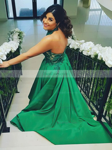 Princess Halter Sweep Train Satin Prom Dresses with Appliques Lace #Favs020105663