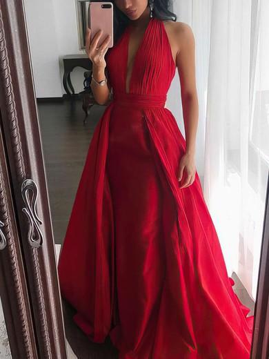 Princess V-neck Satin Sweep Train Ruffles Prom Dresses #Favs020105675