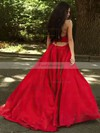 Princess V-neck Satin Sweep Train Ruffles Prom Dresses #Favs020105675
