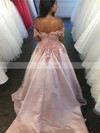 Ball Gown Off-the-shoulder Satin Sweep Train Appliques Lace Prom Dresses #Favs020105721