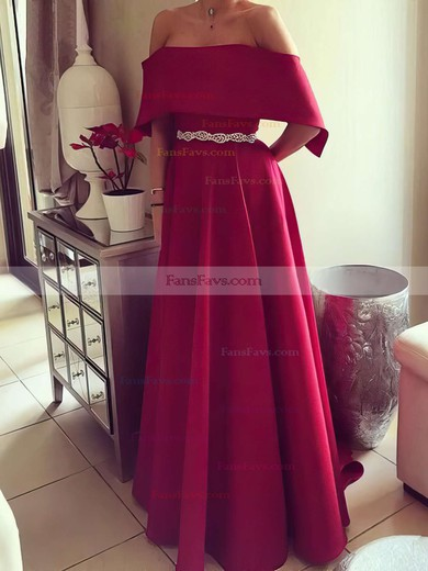 A-line Off-the-shoulder Floor-length Satin Prom Dresses with Sashes #Favs020105739