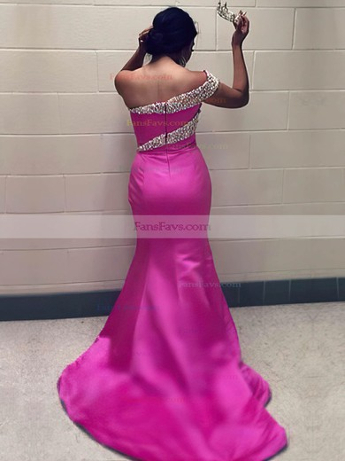 Trumpet/Mermaid One Shoulder Sweep Train Satin Prom Dresses with Pearl Detailing #Favs020105747