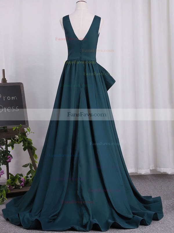 A-line V-neck Sweep Train Satin Prom Dresses #Favs020105758