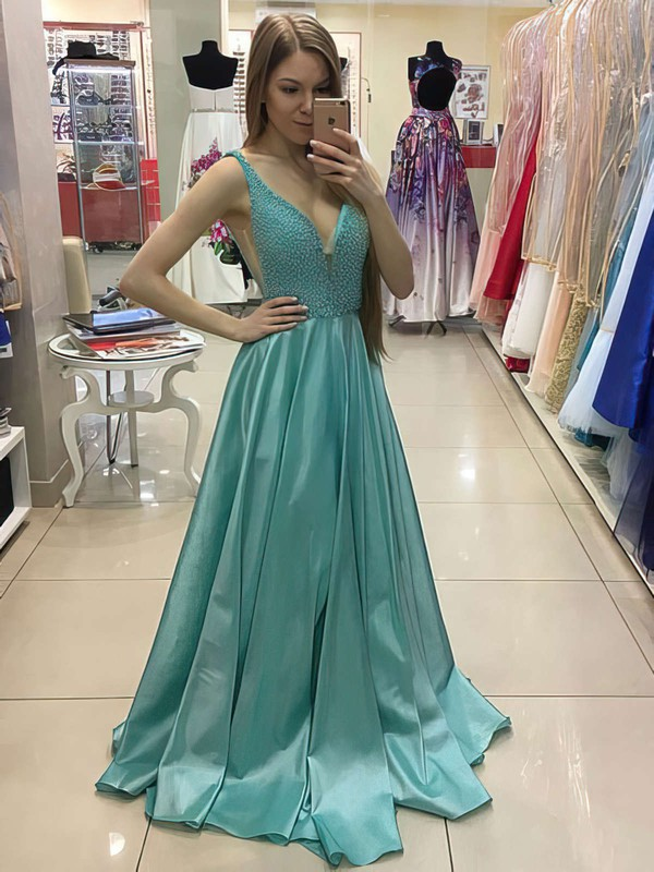 Princess V-neck Sweep Train Satin Prom Dresses with Pearl Detailing #Favs020105776