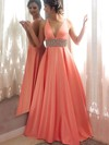 Princess V-neck Floor-length Satin Prom Dresses with Beading #Favs020105777