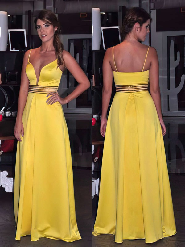 A-line V-neck Floor-length Satin Prom Dresses with Beading #Favs020105783