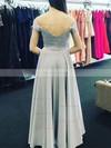 A-line Off-the-shoulder Floor-length Satin Chiffon Prom Dresses with Appliques Lace Sashes #Favs020105002