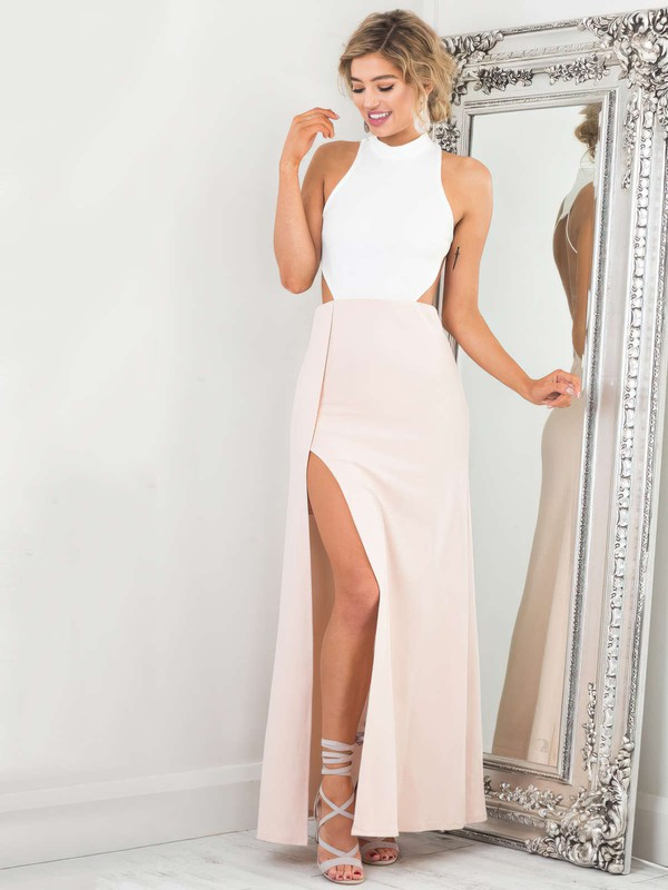 A-line High Neck Ankle-length Satin Chiffon Prom Dresses with Split Front #Favs020105305