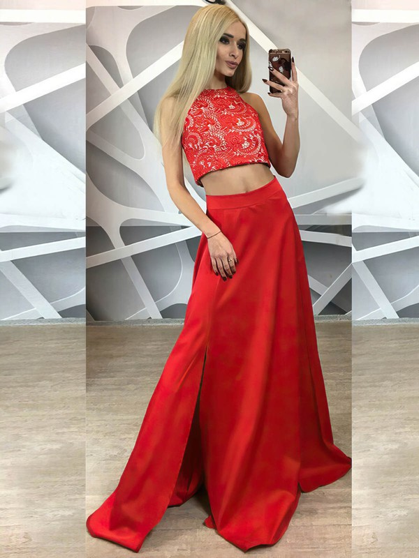 A-line Scoop Neck Lace Satin Floor-length Split Front Prom Dresses #Favs020105258