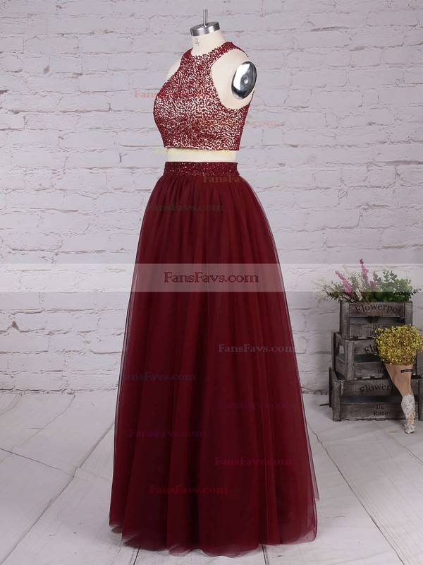 A-line Scoop Neck Floor-length Tulle Prom Dresses with Beading #Favs020103601