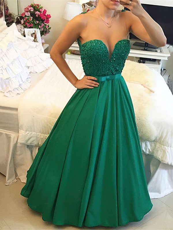 Princess Scoop Neck Floor-length Satin Tulle Prom Dresses with Sashes Beading #Favs020103654