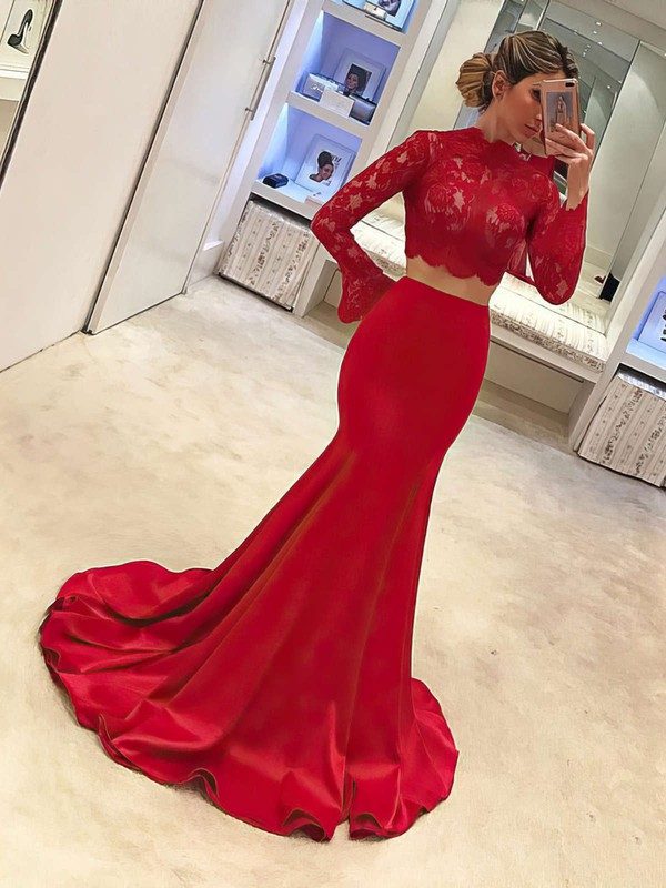 Trumpet/Mermaid High Neck Satin Tulle Sweep Train Appliques Lace Prom Dresses #Favs020104895