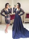 A-line V-neck Satin Detachable Appliques Lace Prom Dresses #Favs020105019