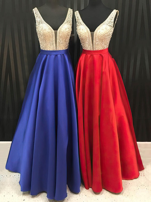 Princess V-neck Floor-length Satin Tulle Prom Dresses with Beading Sashes #Favs020105562