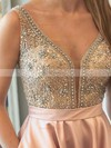 Princess V-neck Satin Floor-length Beading Prom Dresses #Favs020105562