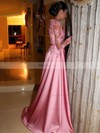 A-line Scoop Neck Satin Tulle Sweep Train Appliques Lace Prom Dresses #Favs020105622