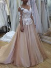 Ball Gown Scoop Neck Sweep Train Satin Tulle Prom Dresses with Appliques Lace #Favs020105643